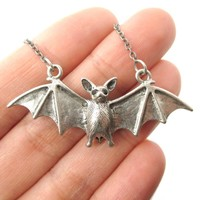 Realistic Bat Shaped Animal Pendant Necklace in Silver   Animal Jewelry