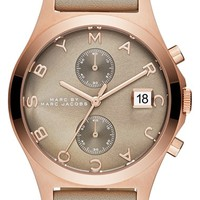 Women's MARC BY MARC JACOBS Chronograph Leather Strap Watch, 38mm - Grey/ Rose Gold