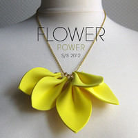 Neon flower. Chic and edgy vibrant yellow statement necklace. Summer 2012 trends statement necklace by Karman Jewelry. Neon jewelry.