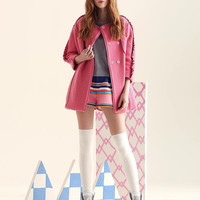 Ruffled Long-Sleeve Button Knitted Coat