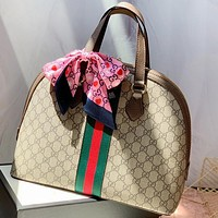 GUCCI Fashion New Stripe More Letter Print Shoulder Bag Handbag Khaki