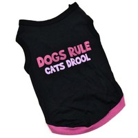 Black and Pink Dogs Rule Cats Drool Summer Shirt Coat Vest Clothing for Dogs