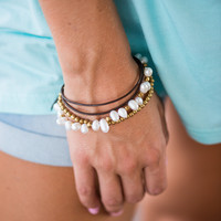Leather Toggle Bracelet, Gold-White