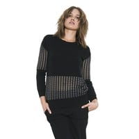 Womens Long Sleeve Black/Clear Miro Pullover Sweater By One Grey Day