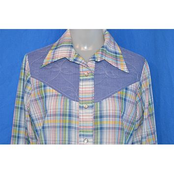 70s Plaid Chambray Woman's Western Pearl Snap Shirt Large