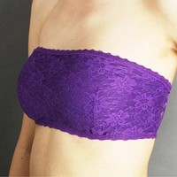 Allover Lace Bandeau Bra Tube Top in 14 Colors. Sizes S-M-L