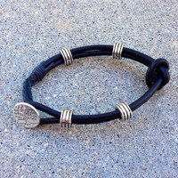 Mens knotted leather bracelet with silver beads