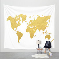 Wall Tapestry // Gold World Map