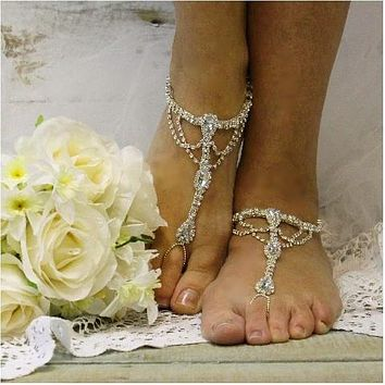 SOMETHING SILVER wedding  barefoot sandals