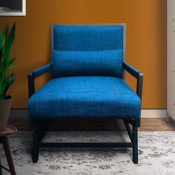 Fabric Padded Wooden Frame Accent Sofa Chair with Armrest, Black and Blue By The Urban Port
