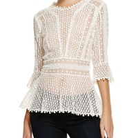 Rebecca Taylor Guipure Lace Top   Bloomingdales's
