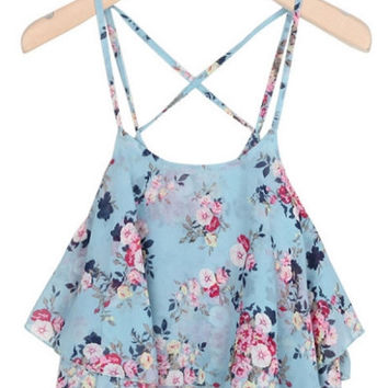 Floral Strappy Chiffon Ruffled Top
