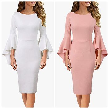 Long Bell Sleeve Cocktail Dress, Sizes XSmall - 3XLarge