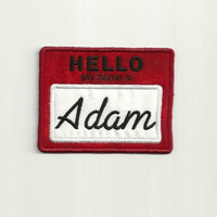 "Personalized, ""Hello My Name Is"" Tag Patch, Any Color!"