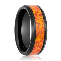 DRAGON Black Tungsten Men's Wedding Ring with Synthetic Orange Opal Inlay - 8MM