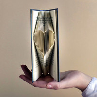 Valentines Day Gift For Him / Her - Small Heart - Paper Anniversary - Love  - Folded Book - Card