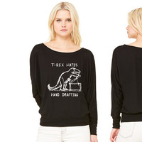 Architecture T-Rex Hates Hand Drafting women's long sleeve tee