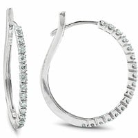 "1/2 ct Diamond Hoops 8k White Gold 1"" Tall Womens Earrings"