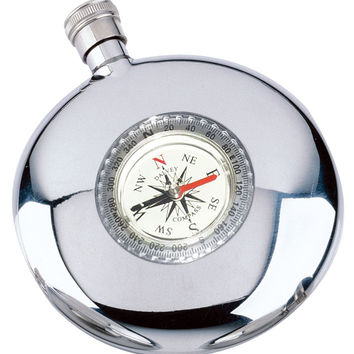 Visol Navigator Round Flask with Built-in Compass 6 oz. Hip Flask