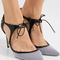 Jimmy Choo - Vanessa 85 cutout leather and mesh pumps