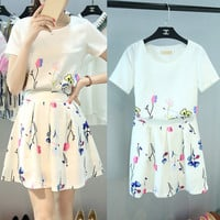 White Floral Print T-Shirt and Pleated Skater Skirt