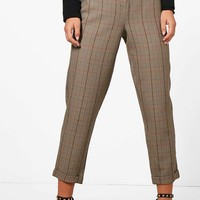 Petite Checked Tapered Trouser | Boohoo