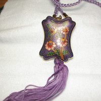 Cloisonne Double Sided Pendent on Purple Cord with Tassel, Butterfly with Flowers Necklace