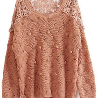 ROMWE   Lace Hollow-out Pink Jumper, The Latest Street Fashion