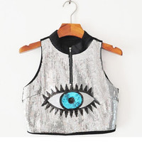 Sparking Sequined Eye Crop Top