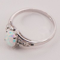White Fire Opal 925 Sterling Silver Fashion Jewelry Ring