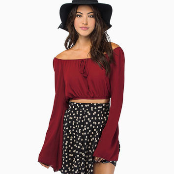 Solid Off-Shoulder  Lace Tie Bell Sleeves Crop Top