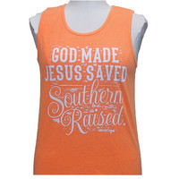 Girlie Girl Originals God made, Jesus Saved, Southern Raised Bright Melon Tank Top