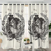 Love Skull Couple Window Drapes for Your Home Floral Gothic