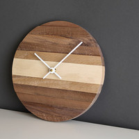 """Handcrafted 9"""" modern round wall clock with white hands"""