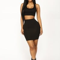 Heart Sigh Skirt Set - Black