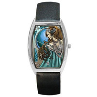 Art Nouveau Lady in Blue on a Barrel Watch w/ Leather Bands. Great Women's Gifts