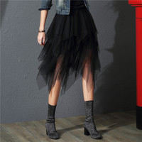 2017 Tulle Skirts Womens Fashion Elastic High Waist  mesh Tutu Skirt pleated long skirts Midi Skirt saias faldas jupe femme