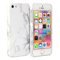 iPhone 5s Case, GMYLE Snap Cover Glossy for iPhone 5 / 5s - White Marble Pattern Slim Hard Back Case