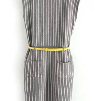 Grey Stripe Sleeveless Knitted Mini Dress with Pocket