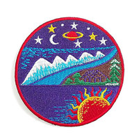 Purple World Nature New Iron On Patch Embroidered Applique Size 7.9cm.x8cm.