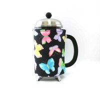 French Press Coffee Cozy /Butterflies / Bodum Press CHAMBORD Cozy / RedLeafStitchCraft