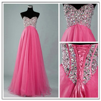 WowDresses — STUNNING PINK A-LINE SWEETHEART SWEEP TRAIN PROM DRESS