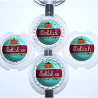 A347 - Personalized Turquoise and Plum Quatrefoil Pumpkin Vines Stethoscope Id Tag