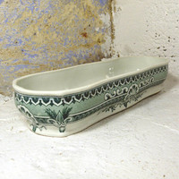 French antique Sarreguemines soap dish, vintage soap dish, country home, shabby chic soap dish, French transferware