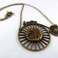 Brass Geared Steampunk Penny Farthing Necklace by angelyques