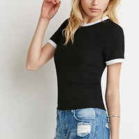 Ribbed Knit Ringer Tee