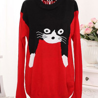 Cat Pattern Knitted Sweater