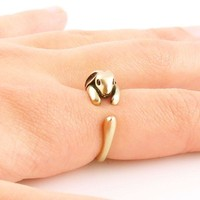 Animal Wrap Ring - Bunny - Yellow Bronze - Adjustable Ring