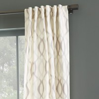 Ikat Links Silk Curtain - Platinum