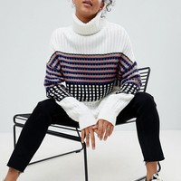 ASOS Sweater in Block Check with High Neck at asos.com